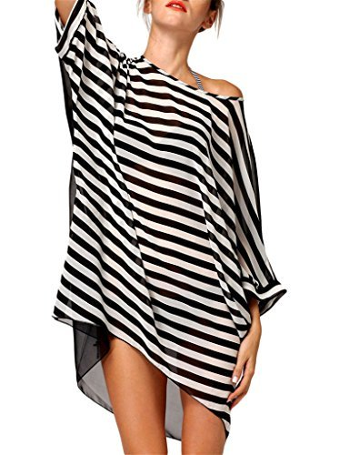 Evaless Women S Casual Stripes Beach Swimsuit Cover Ups