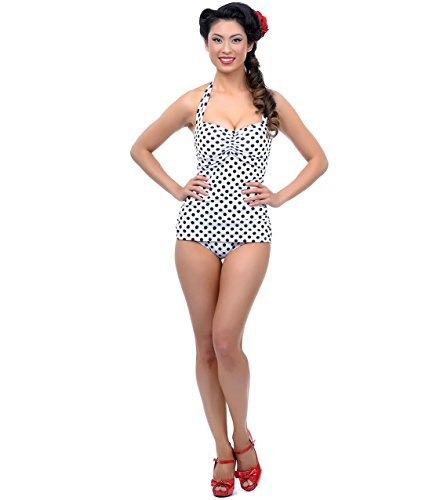 Vintage 1950s Style Pin Up White With Black Polka Dots