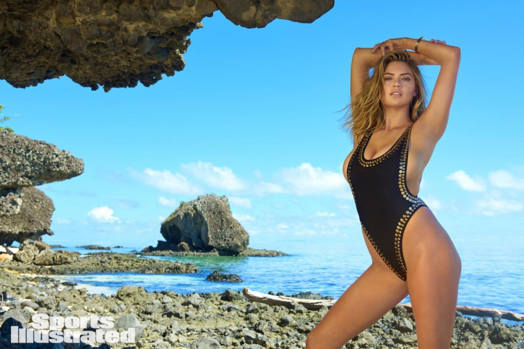 kate upton swimsuit 2017 wearing Norma Kamali Women's Stud Marissa One Piece
